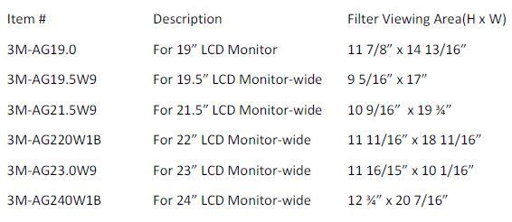 3M Anti Glare Dimensions
